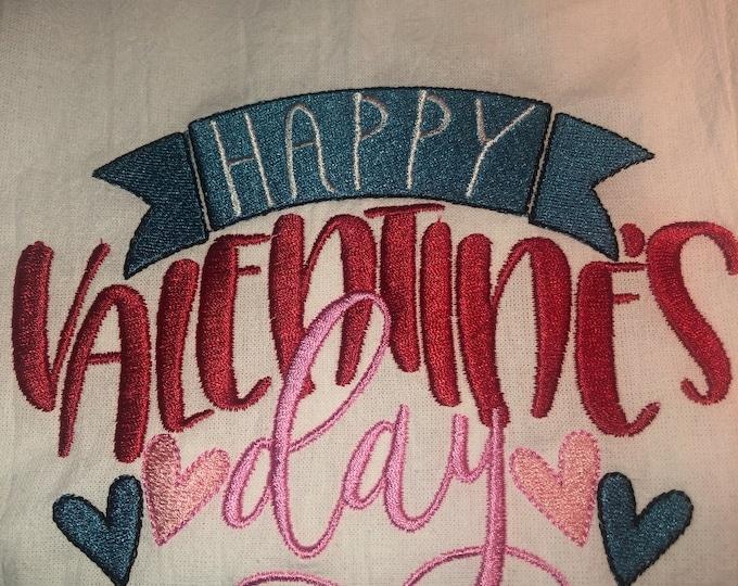 Kitchen Embroidered Tea Towel, Kitchen Table, Flour Sack Towel, kItchen Tea Towel, valentine towel, valentine gift