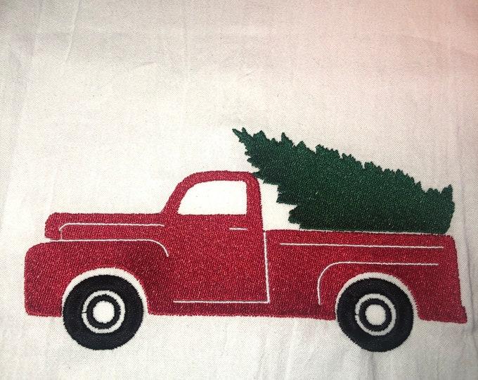 Christmas Embroidered Tea Towel, Christmas Table, Flour Sack Towel, kItchen Tea Towel, Christmas Decor