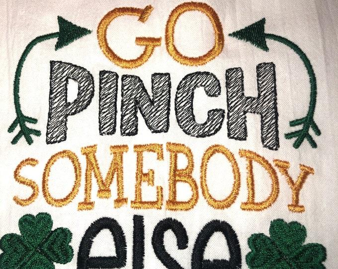 Kitchen Embroidered Tea Towel, Kitchen Table, Flour Sack Towel, kItchen Tea Towel, St. Patrick's Day