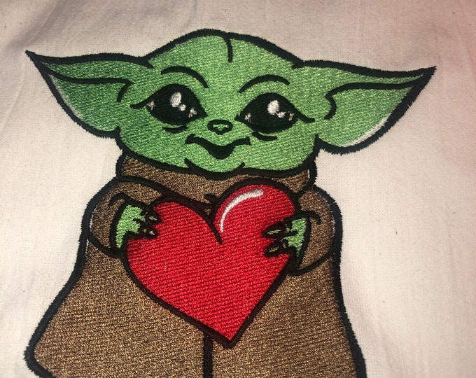 Kitchen Embroidered Tea Towel, Kitchen Table, Flour Sack Towel, kItchen Tea Towel, valentine towel, valentine gift, Baby Yoda, Star Wars