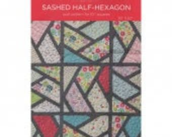 "MSQC Sashed Half-Hexagon Quilt Pattern for 10"" Squares"