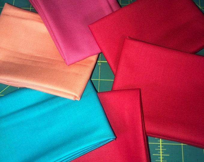 Solid Colors Fat Quarter Bundle by Riley Blake Designs  - 6 Pieces