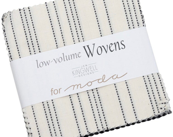 """Low Volume Wovens 5"""" Charm Pack by Jen Kingwell for Moda - 42 Pieces"""