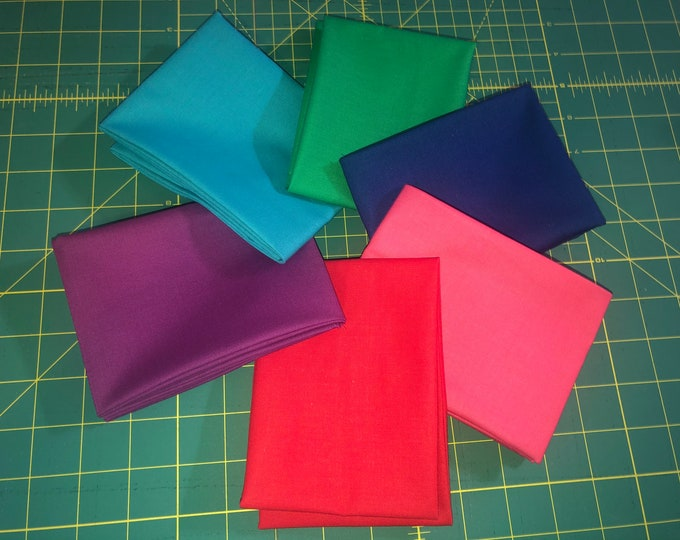 Solid Colors Fat Quarter Bundle by Riley Blake Designs and Moda - 6 Pieces