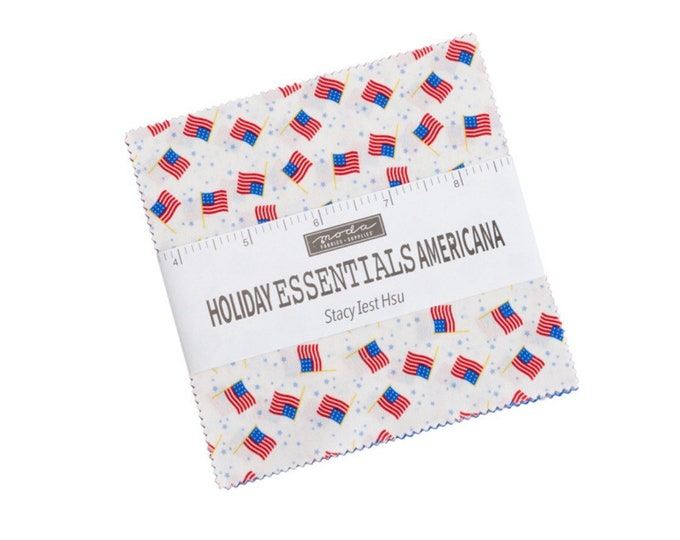 """Holiday Essentials Americana 5"""" Charm Pack by Stacy Iest Hsu for Moda - 42 Pieces"""