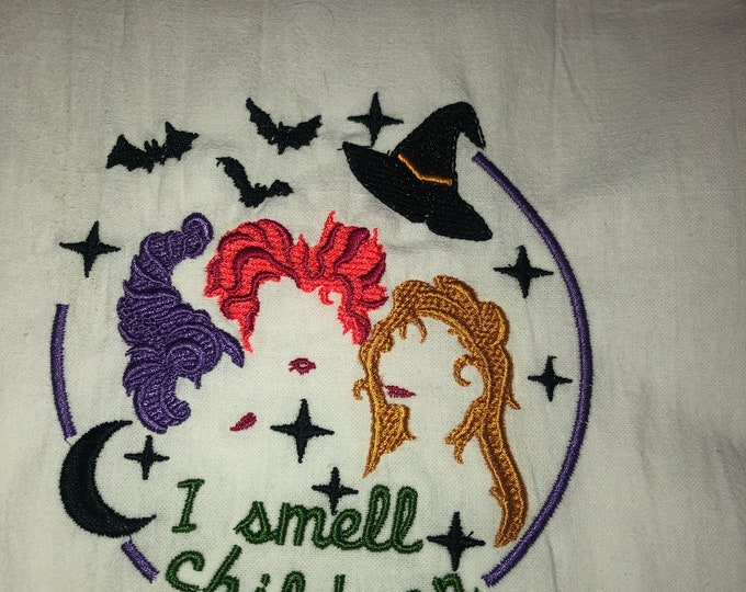 Halloween Embroidered Tea Towel, Halloween Table, Flour Sack Towel, kItchen Tea Towel, Halloween Decor, Hocus Pocus