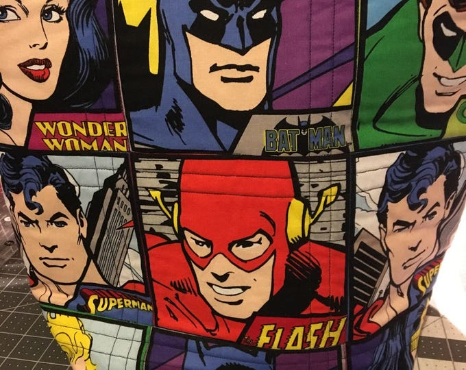 Justice League tote, Justice League Bag, Superhero bag, bag, tote, quilted tote, quilted bag, handmade tote, handmade bag, homemade bag