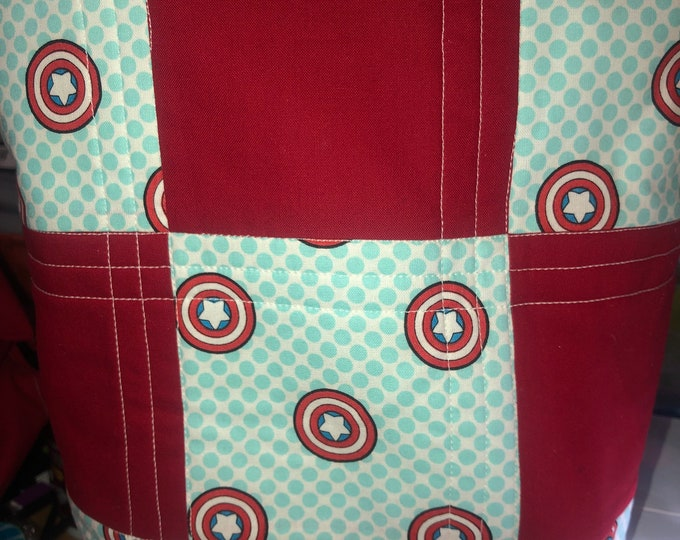 Captain America  bag, Superhero bag, bag, tote, quilted tote, quilted bag, handmade tote, handmade quilt bag, Captain tote, homemade bag