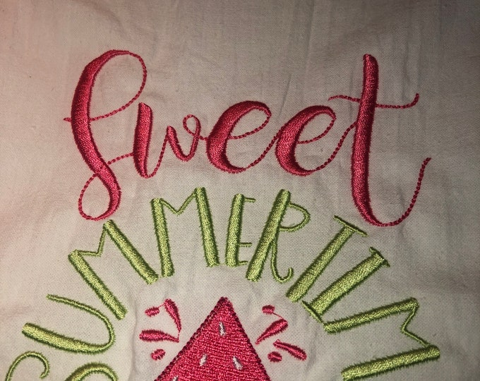 Kitchen Embroidered Tea Towel, Kitchen Table, Flour Sack Towel, kItchen Tea Towel
