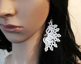 Lace earrings, tatted fan earrings, chandelier earrings