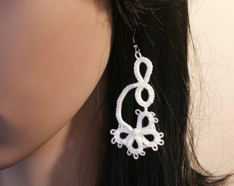 Lace dangle earrings, bridal earrings, butterfly earrings, flower earrings