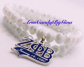 Zeta Phi Beta Double Strand Rondelle Bracelet