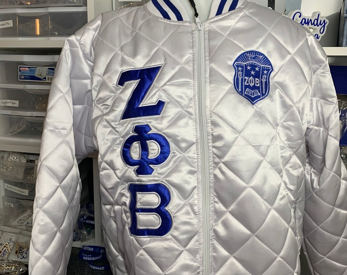 White Quilted Zeta Phi Beta Satin Jacket