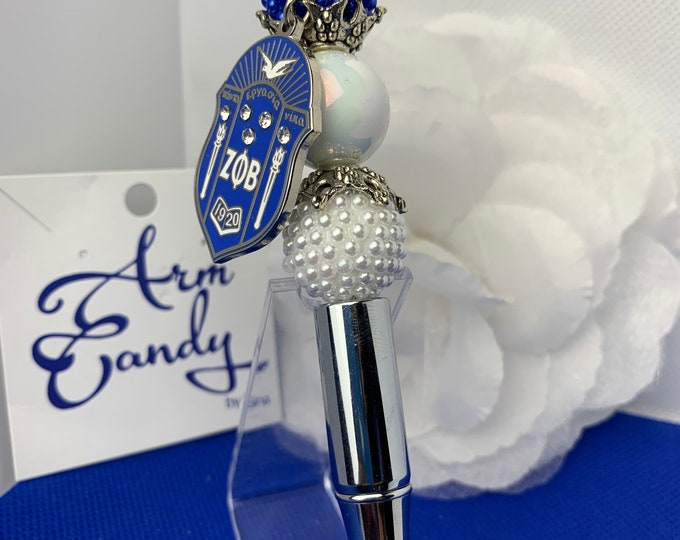 Silver Double Pearl Bead Shield Collection Pen