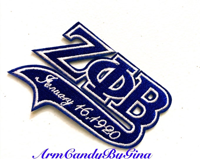 Iron On Embroidered Zeta Phi Beta Patch