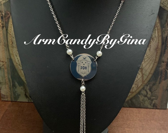 Zeta Phi Beta Pearl Accented Necklace