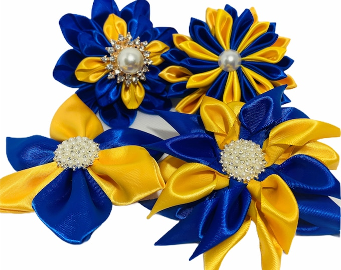 Blue and Gold Flower Pins