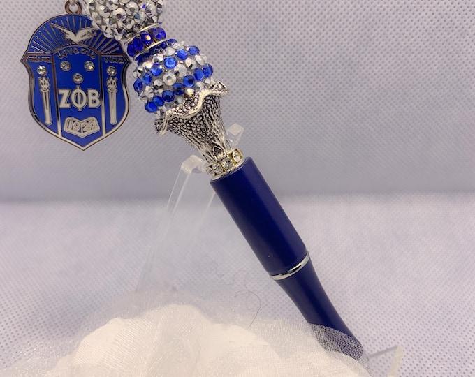 """Zeta Phi Beta Blue """"Shield"""" Collection Pen"""