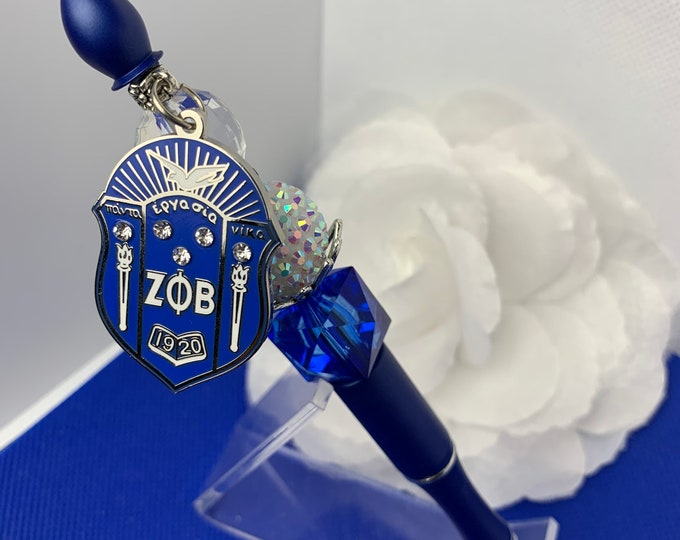 Zeta Square Crystal Bead Shield Collection Pen