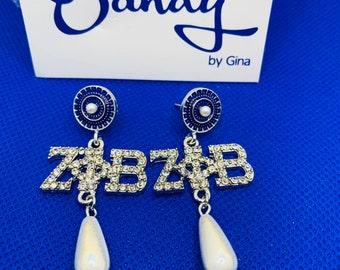 Zeta Phi Beta Pearl and Rhinestone Drop  Earrings