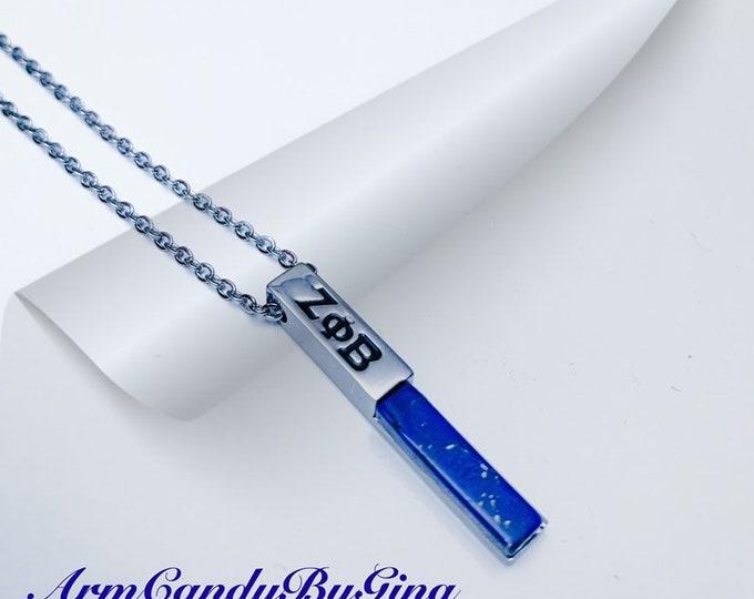 Zeta Phi Beta Blue Howlite Precious Stone Necklace