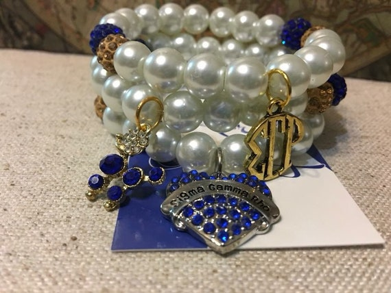 Three Piece Pearl Bracelet set  accented with Rhinestone Sigma Gamma Rho Charms