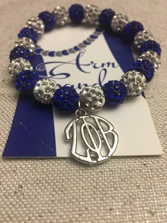 Royal Blue and White Round ZPhiB Shamballa Bracelet