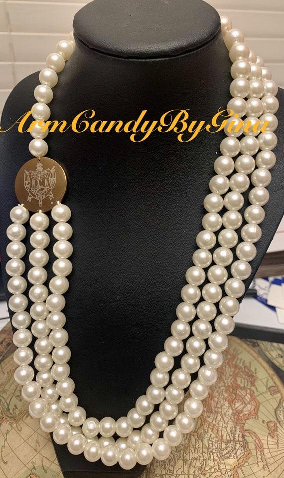 Sigma Gamma Rho Three Strand Pearl Necklace
