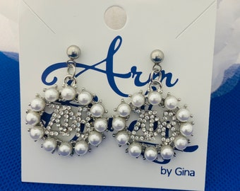 Zeta Phi Beta Pearl and Rhinestone Earrings