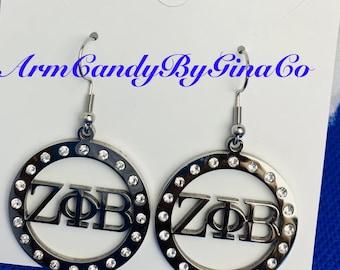 Zeta Phi Beta Stainless Steel and Rhinestone Earrings