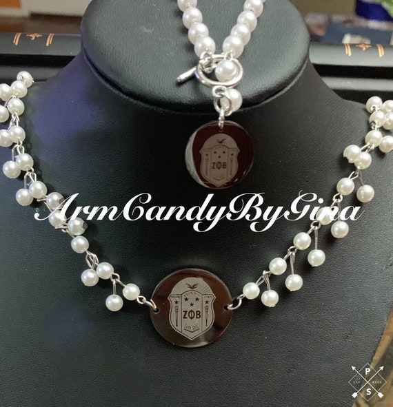 Zeta Phi  Beta Shield Pearl Set