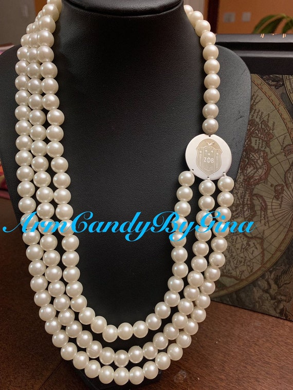 Zeta Phi Beta Pearl Necklace!  The Shield Collection
