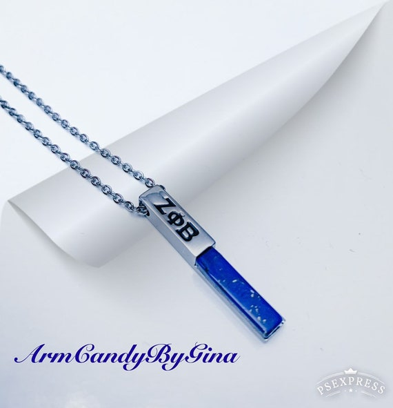 Zeta Phi Beta Blue Howlite Precious Stone Necklace