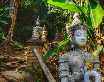 Entrance to Wat Palad, Chiang Mai, Thailand, Thailand photography, nature photography, buddhist, buddhas, forest, forest photography
