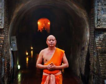 Monk at Wat Umong, Chiang Mai, Chiang Mai Photography, Monk Photography, Thailand Photography