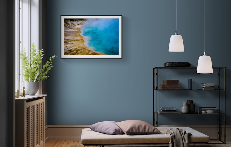 Mineral Photography Geothermal Pool Sapphire Fine Art Abstract Home Decor Yellowstone Fine Art Print Blue Water Photo