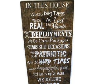 Deployment Gift For Husband In This House We Do Military Sign Family Rules