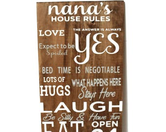 Grandparents House Rules Wood Sign, Wall Hanging, Grandchildren, Kids, Subway Art, Grandma, Grandpa, Nana's House, Grandparents gift, Baby