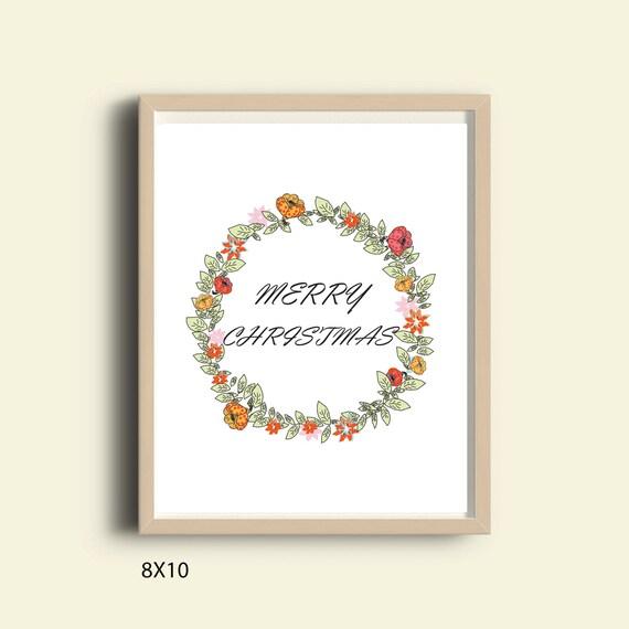 Decoración de Navidad para imprimir arte de pared de la feliz | Etsy