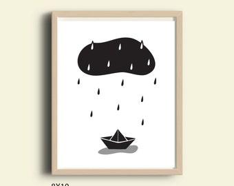 Nursery art kids room art print printable nursery poster scandinavian wall art monochrome black and white print rain cloud rain drops boat