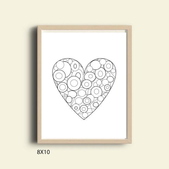 Liebe druckbare Kunst schwarz-weiß Herz Druck Malvorlagen