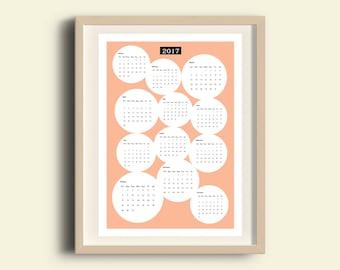 Druckbare Kalender, Pfirsich Kalender, Wandkalender, 2017 Kalender, Wandkalender, Küche Dekor Büro Dekor jährliche Kalender Pfirsich Wohnkultur