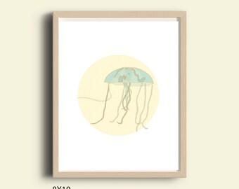 Jellyfish art, instant download printable art, printable jelly fish, illustration print, nautical decor, home decor, art, gift ideas, 8X10