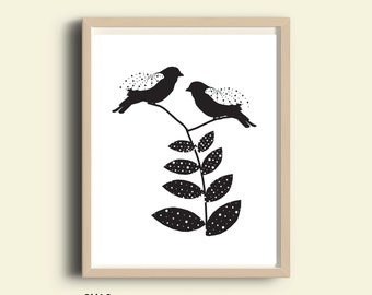 Black and White Wall Art, printable black and white wall art, love birds wall art, paper cut style, digital illustration, love birds black
