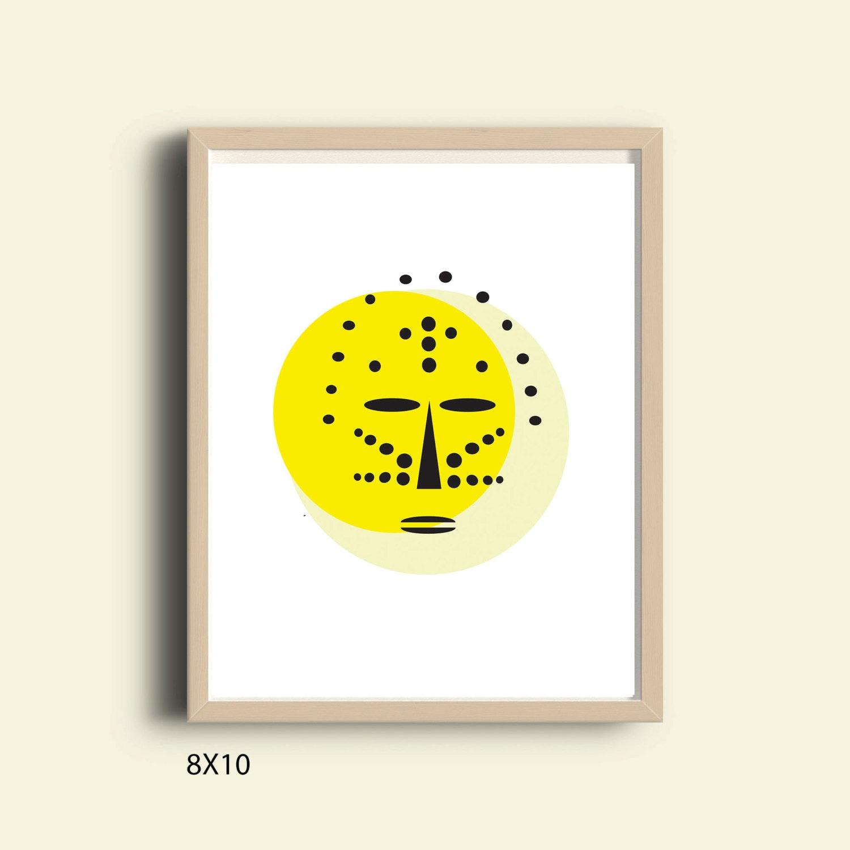 Yellow wall art printable wall art abstract African mask | Etsy