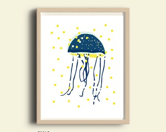 Nautical prints, nautical wall art, posters, beach art, coastal art, printable wall art, Jellyfish, seahorse print, nautical art print, 8X10