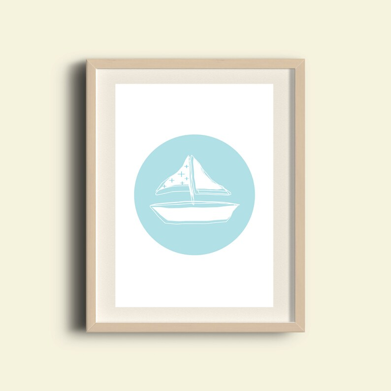 image regarding Sailboat Printable titled Sailboat artwork, sailboat printable, sailboat children house decor, sailboat nursery artwork, light-weight blue nautical decor, minimalist small children decor, A3 print