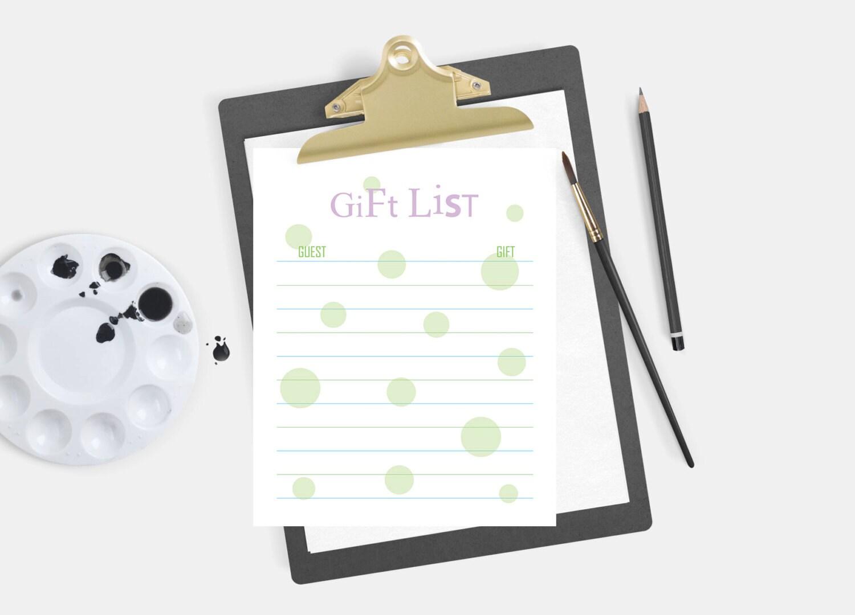 Bridal Shower Geschenk-Liste Liste der empfangenen Geschenke | Etsy