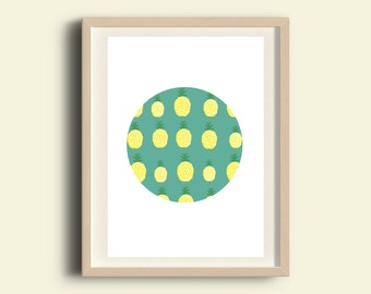 Kitchen wall art, printable kitchen art, A3 print, dining room wall decor, nursery printable, pineapple, circle decor, printable women gift