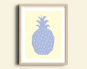 Pineapple nursery print, PRINTABLE, modern nursery, digital art, fruit print, pineapple wall art print, pastel colors decor, modern kids art